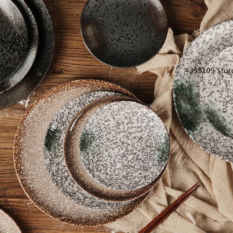 Creative ceramic Japanese style plate retro tableware Western dish snack plate restaurant sushi plate family dinner steak plate
