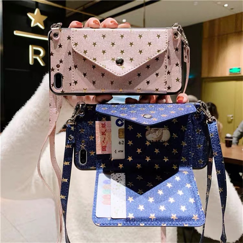 Crossbody Necklace Strap Luxury Star Wallet Case For Huawei Mate30 Mate20 Pro P20 P40 Pro P30 Lite Honor 20 Card Holder Cover