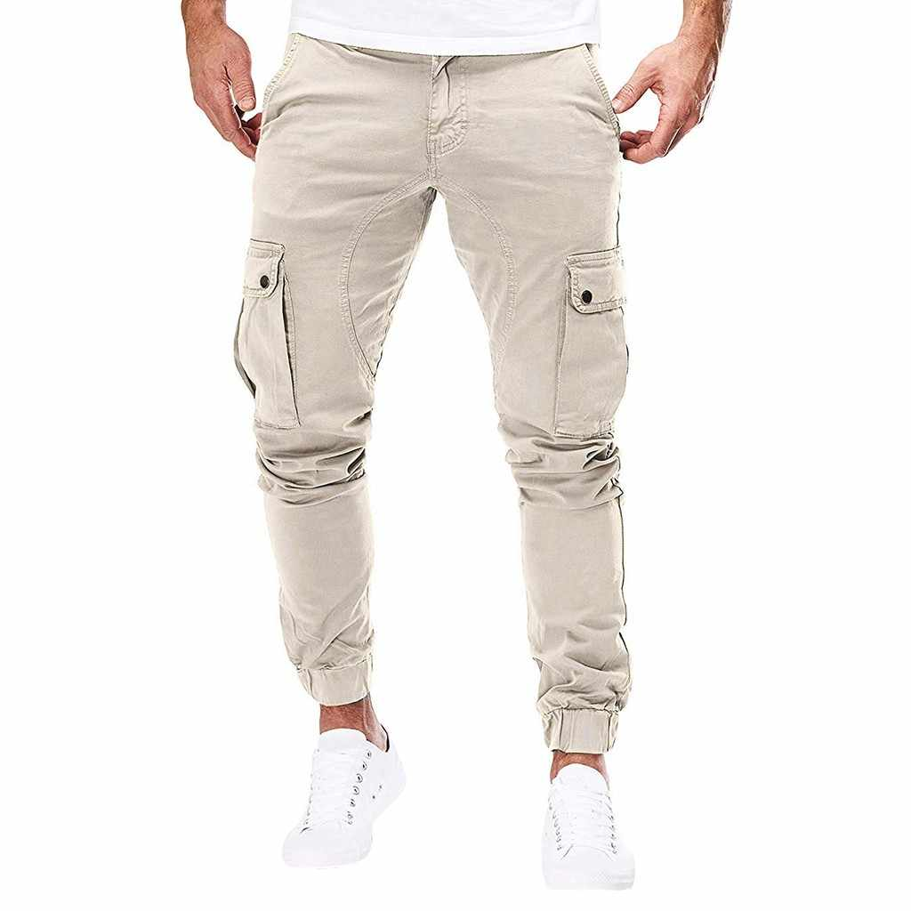Feitong Joggers Men treetwear Pocket Overalls Casual Solid Sport Work Trouser Sweatpants moletom masculino