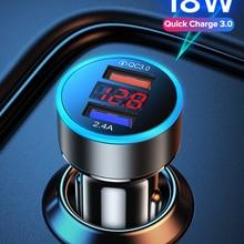 GETIHU 18W зарядное устройство для автомобиля с двумя портами USB светодиодный смарт-устройство для быстрой телефона адаптер зарядного устройст...