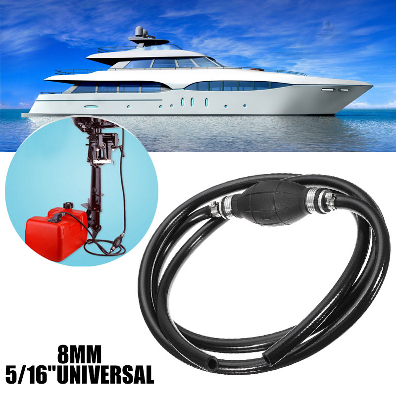 Universal Fuel Pipe 8mm W/ Primer Bulb RVs Caravans Hose Assembly Durable 6ft Fuel Line Assembly image