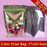100pcs/lot 17cm*24cm+4cm(Bottom) 18mic Golden Al Half Clear Bags,Stand Up Ziplock Plastic Bags,Resealable Retail Bag,Tea Bag