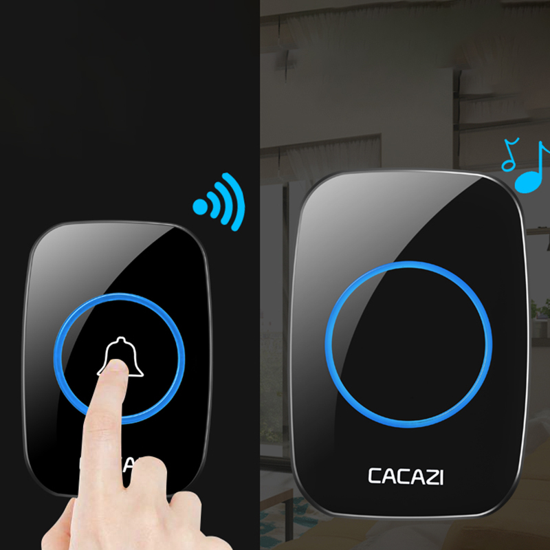 Wireless Doorbell Waterproof Battery Buttons US EU UK Plug Receiver 300M Remote Led Light Home Cordless Bell