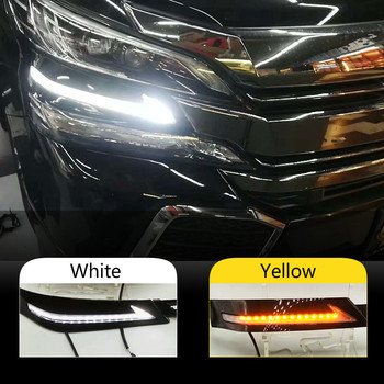 2PCS 12v LED Car DRL Daytime Running Lights fog lamp led daylight for Toyota Vellfire 30 2016 2017 2018 with running siganls