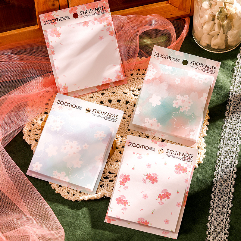 Mohamm 90 Sheets Cherry Season Creative Flower Sticky Notes Post Notepad Memo Pad Paper Sticker Office School Supplies Stationer