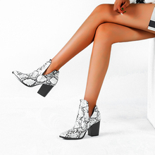 2020 Motorcycle Western Cowboy Boots Women Animal Snake pattern PU Leather High Heels slip on Cowgirl Booties Ankle botas Shoes
