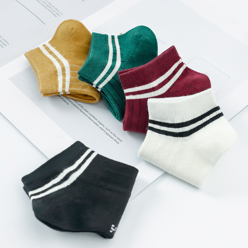 5-pair Pack/Men And Women CHILDREN'S Socks Cotton 2-5-8-12-Year-Old Spring And Autumn Tube Socks Girls Big Boy Bar Short Socks B