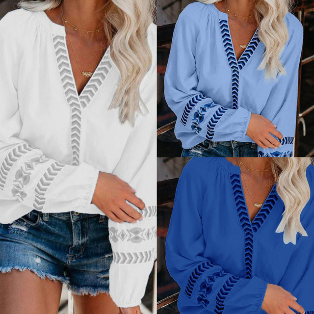 Autumn Women Sexy V-Neck Hollow Out Blouse Shirts Elegant Solid Color Tops Office Lady S-3XL Fashion Casual Long Sleeves Blouses