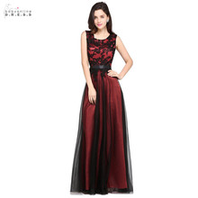 24 Hours Shipping Burgundy Lace Long Evening Dress O-neck Tulle A-line Party Dresses Pink Green Appliques Robe De Soiree