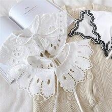 Faux Col châle en dentelle pour femmes, chemise à Col détachable, pull-over, robe demi-chemise, 2021