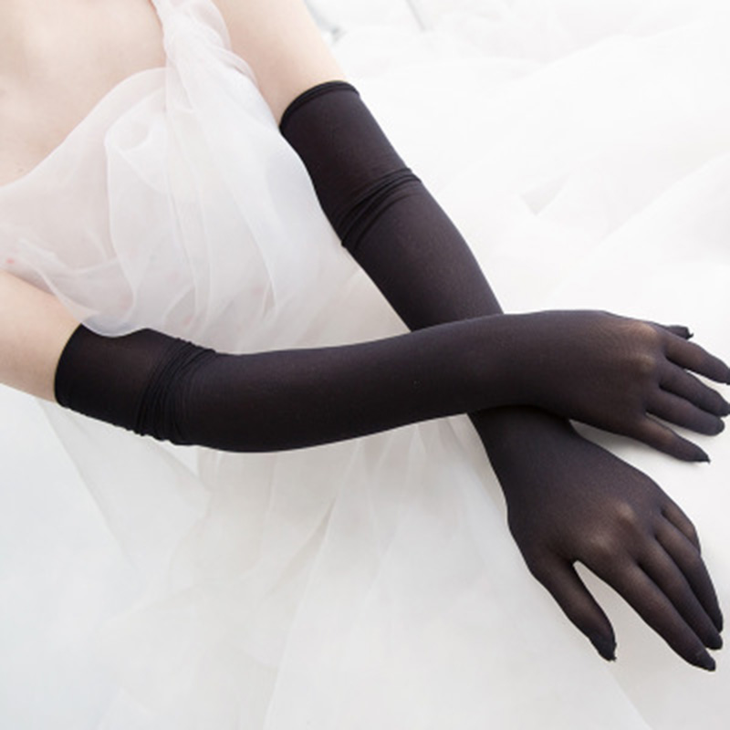 Women Sexy Lace Sunscreen Gloves Summer Female Long Elastic Ultra-thin Anti-UV Driving Gloves Black Party Etiquette Gloves H83