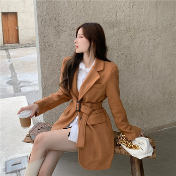 2020-korean-version-of-autumn-and-winter-new-products-fashion-waist-small-size-wool-suit-mid-length-coat-jacket-womens-clothing