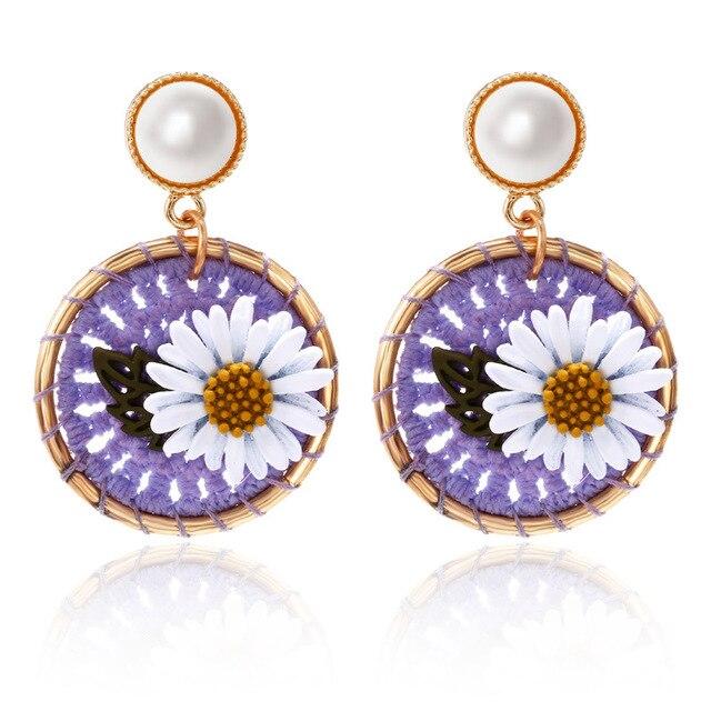 Flower Thread Pearl Earrings