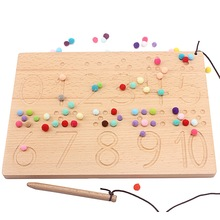 Montessori Wood Numbers & Shapes Board 0-10 Digitals with Colorful Plush Ball Counting Writing Board Practical Toys for Children