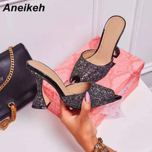 Aneikeh NEW 2020 Summer Sequined Cloth Sandals Slippers Slip On Thin Heels High Heels Flip Flop Women Shoes Sexy Slippers Pumps new 2017 summer fashion sexy girl golden leaf rhinestone slippers high heels sandals women slip on woman casual shoes