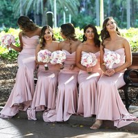 Blush Pink Sweetheart Satin Mermaid Long Bridesmaid Dresses Ruched Floor Length Wedding Guest Gowns Long Maid Of Honor Dress