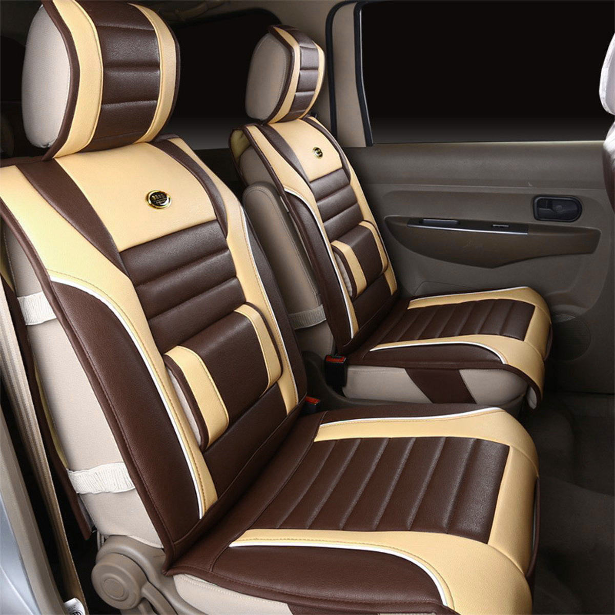 Luxury Full Seat PU Leather Car Van Cushion Cover Breathable Surround Pad Car Seat Cover Seat Protector Mat Interior Accessories