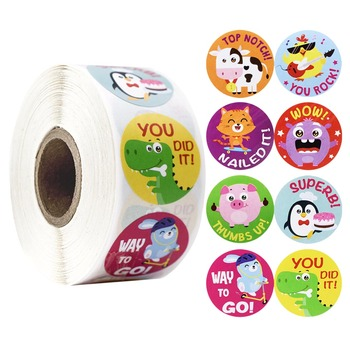 500 Pcs/roll Word Reward Stickers with Cute Animal Motivational Stickers for Encouragement Teachers Students for Toys Stickers 500 pcs roll zoo cartoon animal stickers 8 design stickers for children s classic toys stickers school reward kids stickers