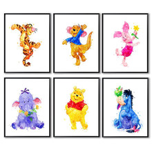 Disney Watercolor Cartoon Canvas Painting Winnie The Pooh and Tigger Posters Wall Art Pictures for Living Kids Home Room Decor