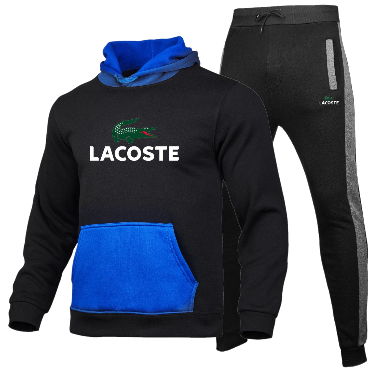 Lacoste- Men's Sportswear Sets 2020 Autumn Winter Hooded Thick Male Casual Tracksuit Men 2 Piece Sweatshirt + Sweatpants Set