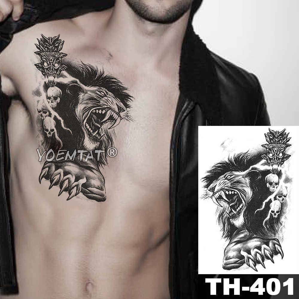 Krwi las wilk tymczasowa naklejka tatuaż lew korona Tiger wodoodporny tatuaż wojownik żołnierz Body Art ramię fałszywy tatuaż mężczyźni kobiety