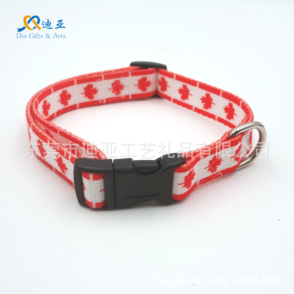 E-Commerce 11-2.0 Cm Thermal Transfer Canadian Flag Polyester Cotton Skin-Friendly Pet Collar Dog Collar