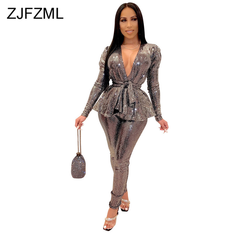 Sparkly Bronzing Sexy 2 Piece Outfits For Women V-Neck Long Sleeve Sashes Jacket And Long Pencil Pants Vintage Matching Sets