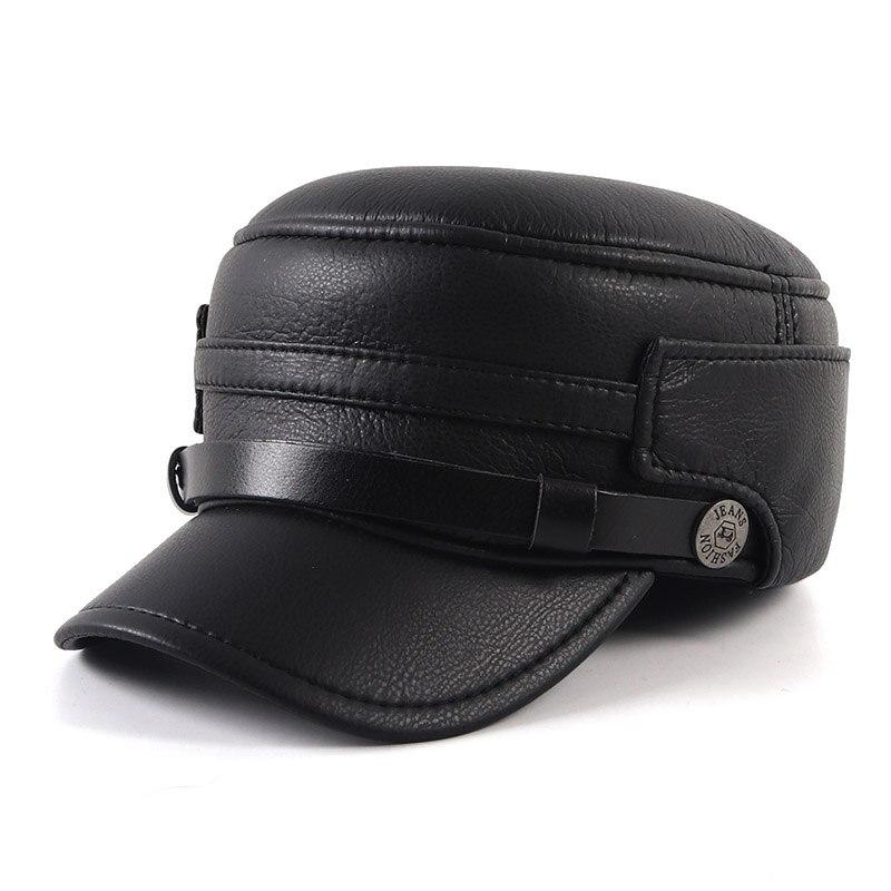 Men's Caps Winter Hat 2021 Warm Soft Leather Baseball Cap For Men Dad Bone Male Flat Army Military Hats Black