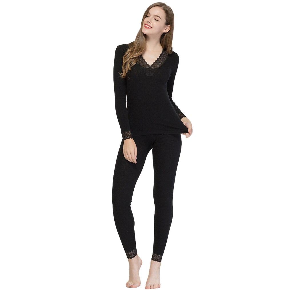 Women 82%Wool 18%Silk Underwear V-neck Underclothes Sets SI0036