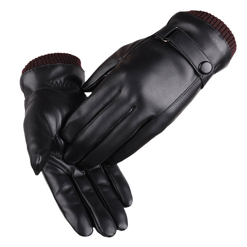 Unisex Winter Pu Leather Gloves Touch Screen Gloves Women Gloves Waterproof Thicken Warm Black Men Warm Fleece Mittens