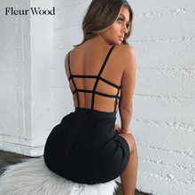 Fleur Wood Sexy Women Dress Sling Strapless Sleeveless Straight Mini Bodycon Dress Backless Casual Summer Party Dress vestido