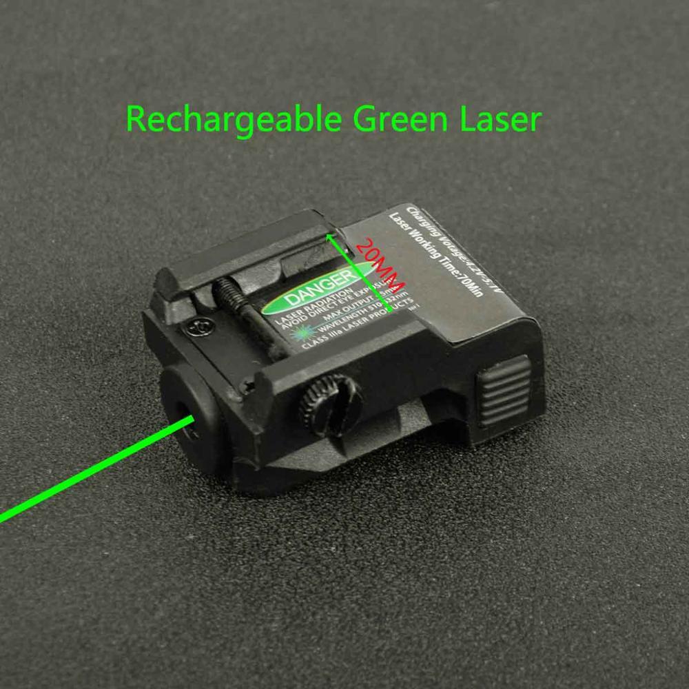 Tactical Military Rechargeable Pistol Mini Green Laser Sight for Glock Colt 1911 Airgun Rifle Handgun Fit 20mm Rai Mount-0