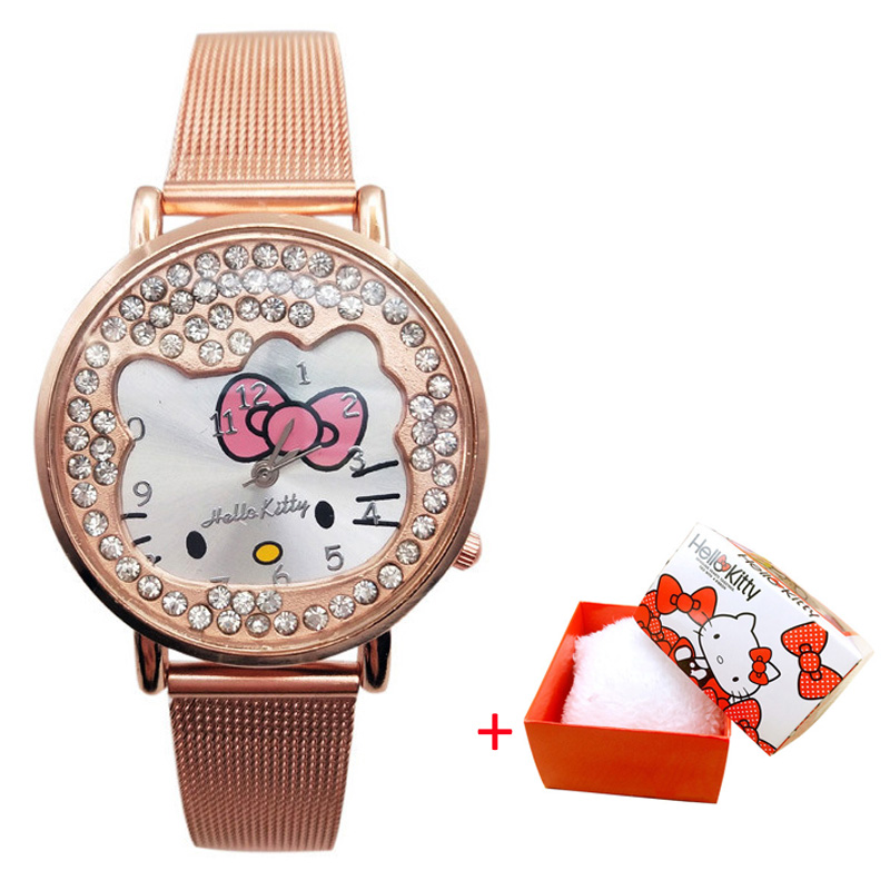 Kt Cat Children Watch Stainless Steel Strap Diamond Children Watch Student Cartoon Watch Fashion Cute Girl Children Watch