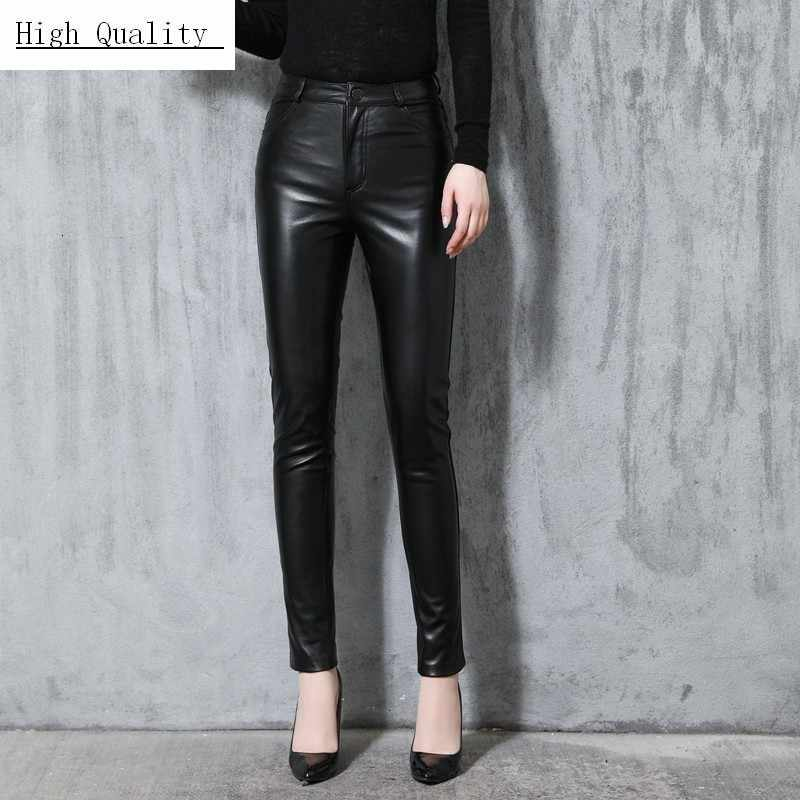 Office Ladies High Waist Genuine Leather Pants Women Trousers New Elegant Slim Fit Full Length Real Leather Pants Plus Size 4XL