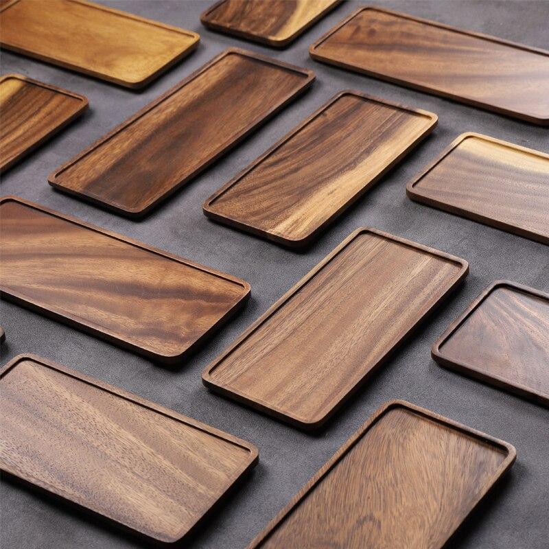 Musowood アカシア長方形の木製茶トレイサービング表プレートスナック食品収納皿ためトレイ