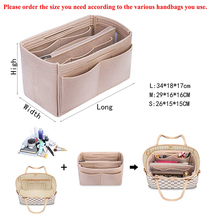 Purse Organizer,purses Cosmetic Toiletry Bags,Felt Bag Organizer Insert Shaper with Zipper Fit all kinds of Tote
