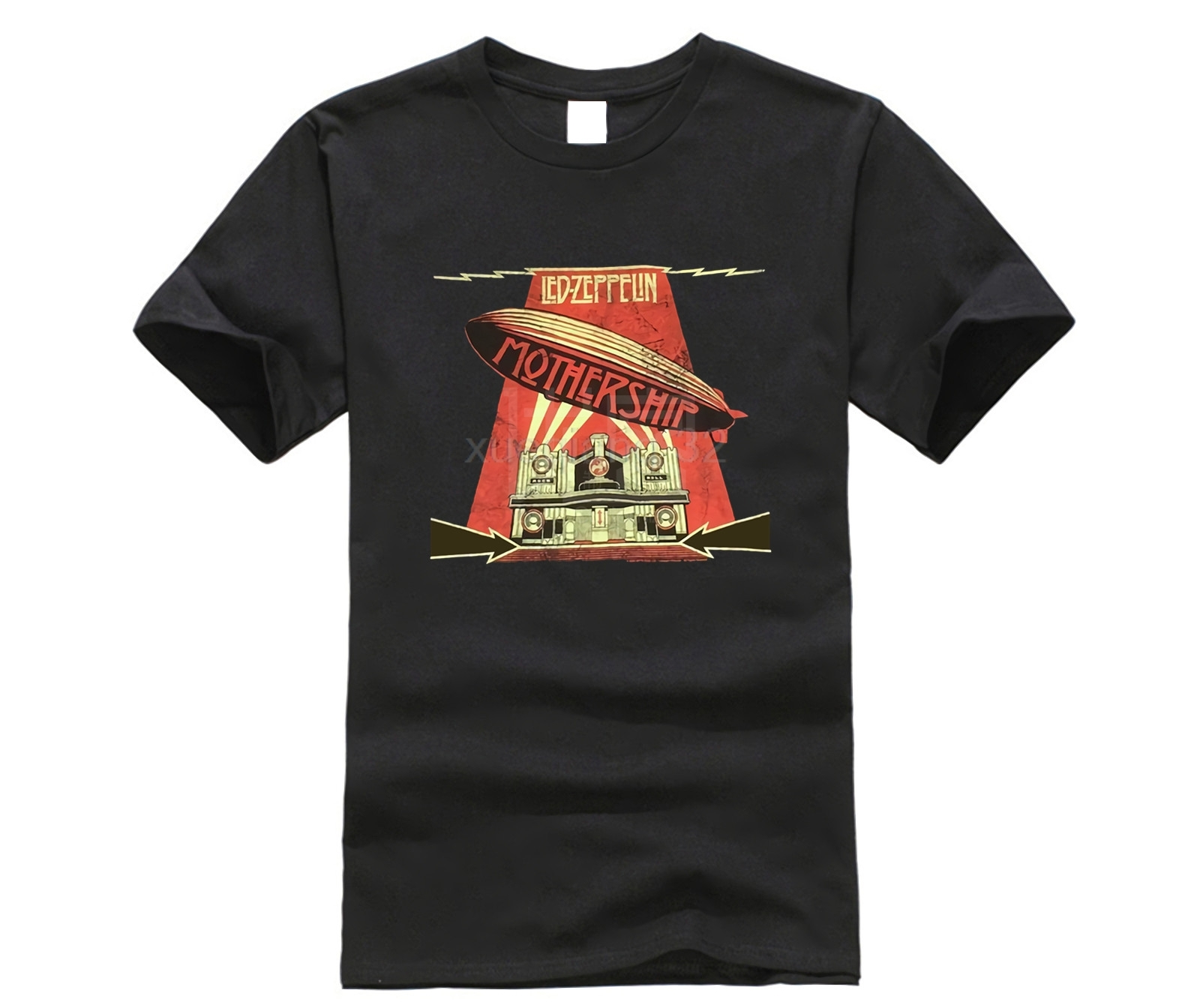 Led-Zeppelin-Mothership-Distressed-Image-Black-T-Shirt-New-Official-Soft-T-Shirt-Casual-Short-Sleeve T Shirt