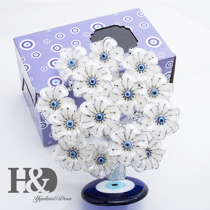 Image 5 - H&D Turkish Feng Shui Lucky Evil Eye Flower Tree For Protection Wealth And Achievement Good Luck Christmas Gift Home Decor ResinFigurines & Miniatures   -
