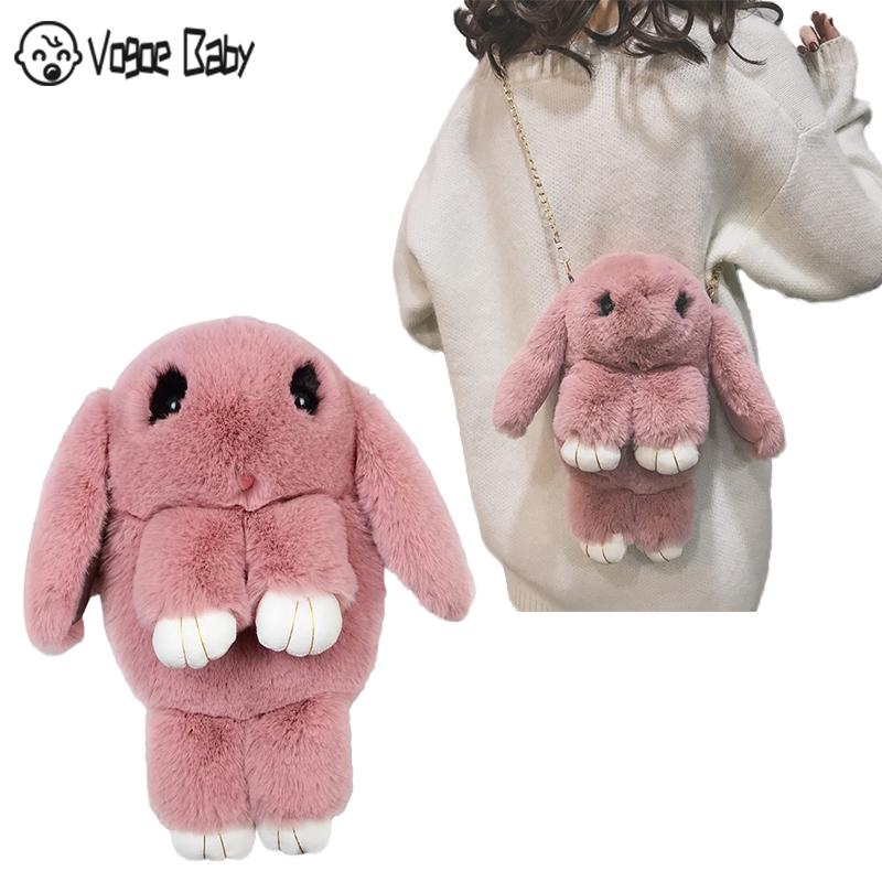 Cute Fluffy Rabbit Fur Pompoms Chain Bag Women Cartoon Rabbit Sling Bag Fluffy Bunny Backpack Shoulder Plush