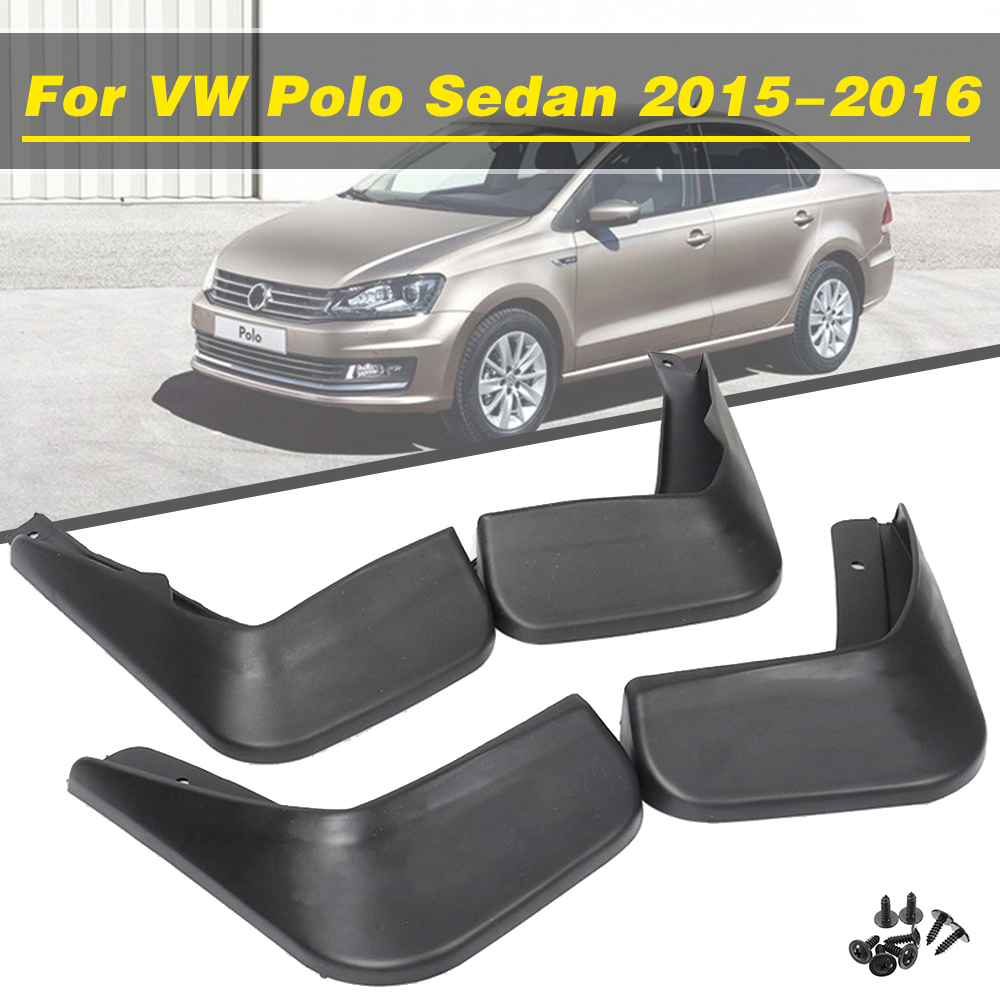 4Pcs Car <font><b>Mudflaps</b></font> Front Rear Mud Flaps Mudguards Splash Guards Fender Flares For <font><b>VW</b></font> Polo Sedan 2015-2016 Accessories Styling image