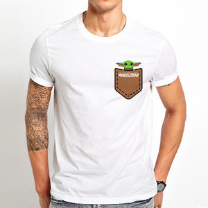 Funny T-Shirt Short-Sleeve Pocket Homme The Mandalorian Baby Yoda White Casual Unisex