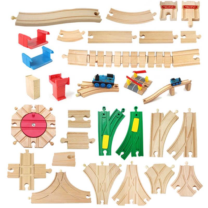 Componentes de vía de tren de madera, conjunto de pistas de tren de haya, juguetes de tren para niños, regalos, accesorios, juguete educativo de bloques de madera para niños