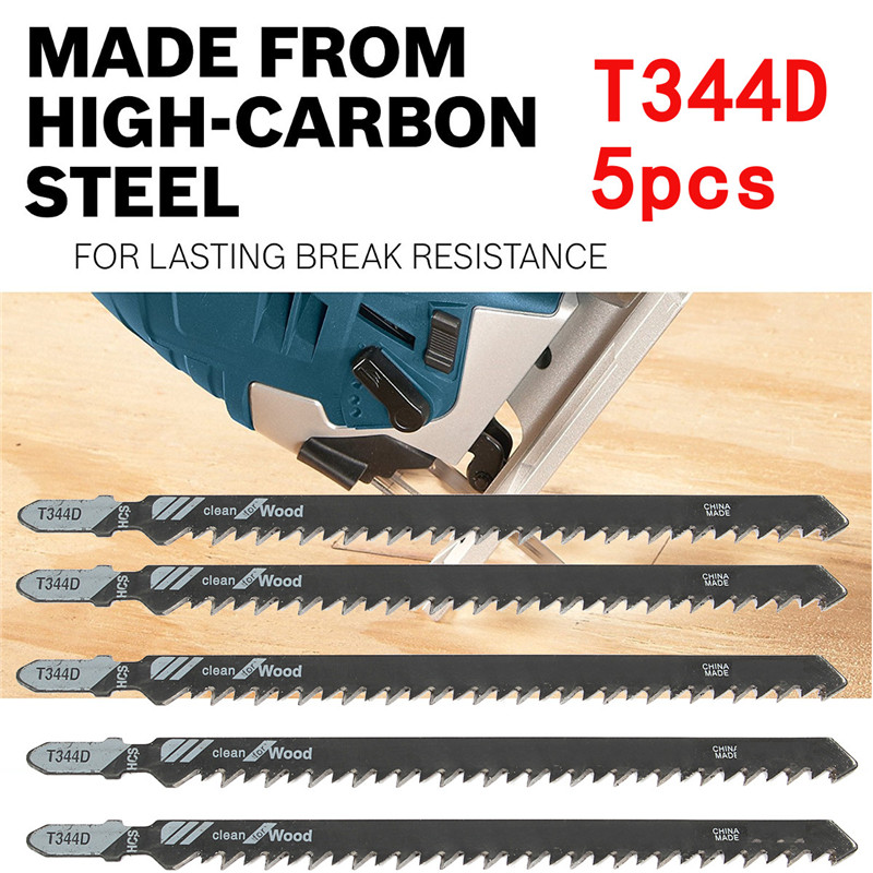 5Pcs 152mm T344D Super-long Saw Blades Clean Cutting Wood PVC Fibreboard Plastic Plywood Reciprocating HCS T-shank Power Tool