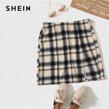 Plaid Skirt SHEIN Multicolor Stretchy High-Waist Women Summer Ladies Cute Hem Slit Bodycon