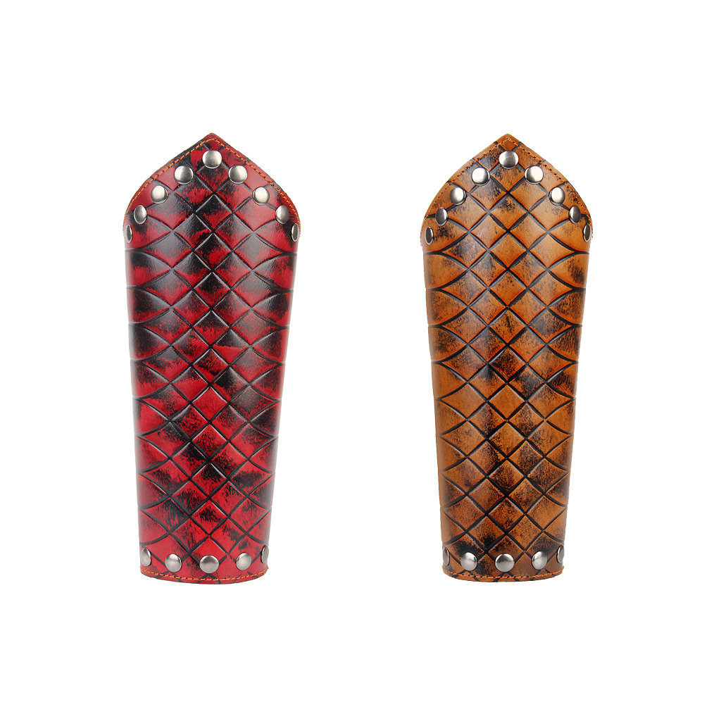 Biker Wide PU Leather Net Shaped Arm Bracer Arm Gauntlet Wristband Cuff Adjustable Arm Guard Protects Arm From Hurt Keeps Warm