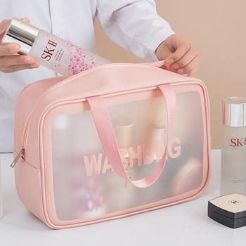 PVC Transparent Waterproof Cosmetic Bag for Women Large Capacity Portable Travel Scrub Toilet Makeup Bag Dressing Storage Bag 1