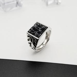 Винтажные мужские кольца из стерлингового серебра 925 пробы с регулируемой квадратной формой, черный камень, цветочный узор, мужские турецкие ювелирные изделия