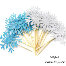 Omilut 12pcs Christmas Cake Decor Christmas Snow Blue/White Cake Topper Decor Merry Christmas Party Supplies For Child omilut 18pcs merry christmas cupcake topper christmas christmas snowman gift sock biscuits birthday cake topper supplies