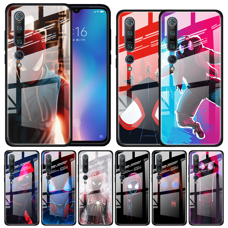 Spider Man Into The Spider Verse Tempered Glass Case For Xiaomi Mi Note 10 Pro CC9 CC9E A3 9T 8 Lite 10 Lite 5G Poco X2 Cover Co
