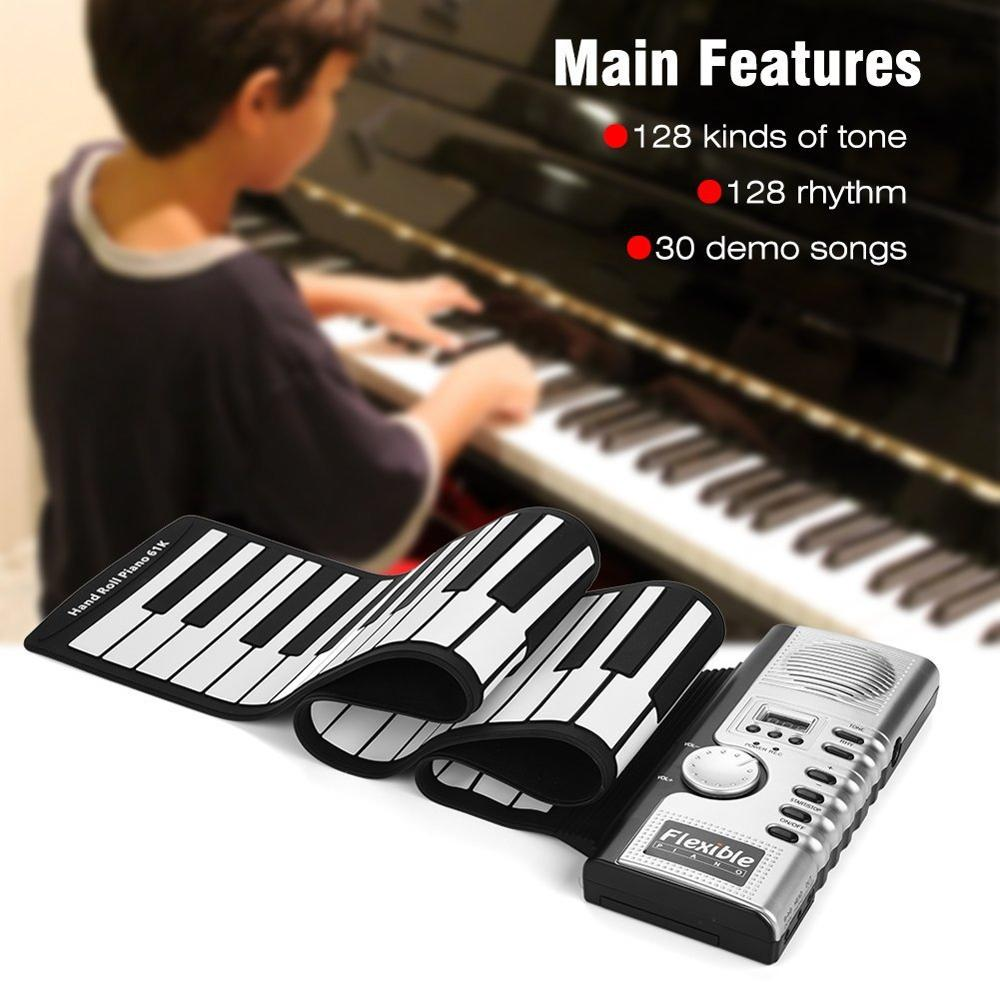 Roll Up Electronic Piano 61 Keys 128 Tones Keyboard Portable Digital Keyboard Piano Flexible Electronic Musical Instrument
